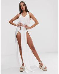 Эксклюзивное Пляжное Платье Макси Белого Цвета С Разрезом -белый South Beach, цвет: White