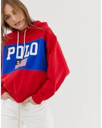 Polo Ralph Lauren Red Bestickter Hoodie aus Baumwolle