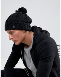 French Connection | Black Cable Knit Bobble Beanie for Men | Lyst