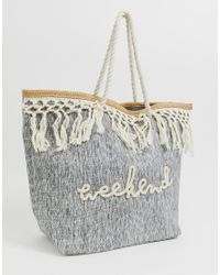 South Beach Gray Tote Bag With Cream Tassel Fringe