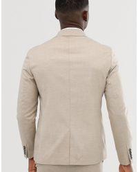 Moss London - Giacca da abito doppiopetto slim elasticizzata grigio pietra di Moss Bros in Green da Uomo