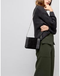 ASOS - Black Leather Croc Boxy Cross Body Bag With Chain Strap - Lyst