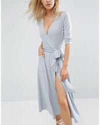 ASOS Gray Crepe Wrap Midi Dress