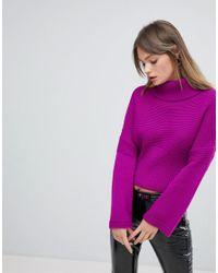 Miss Selfridge - Purple Exclusive Fluted Sleeve Jumper - Lyst