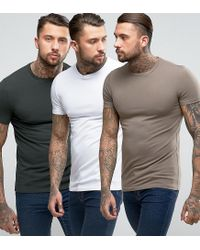 ASOS Multicolor 3 Pack Muscle Fit T-shirt In White/brown/green With Crew Neck Save for men