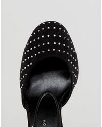 New Look - Black Gem Studded Platform Court - Lyst