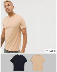 Confezione da 2 T-shirt organiche girocollo - Risparmia di ASOS in Natural da Uomo