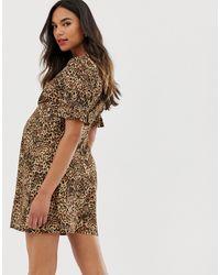 ASOS DESIGN Maternity - Robe boutonnée côtelée à manches bouffantes et imprimé animal ASOS en coloris Brown