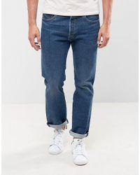 Levi's Blue 501 Original Straight Fit Jeans Subway Station Wash for men