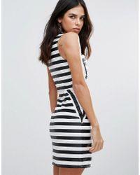 Zibi London - Black Striped Pencil Dress - Lyst