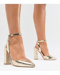 River Island Metallic Wide Fit Point Sling Back