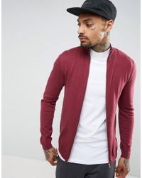 ASOS Red Cotton Track Top In Burgundy for men