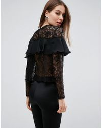 ASOS Black Delicate Lace Top With Ruffle