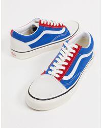 Old Skool - Tennis bicolores - Rouge bleu blanc Toile Vans pour ...