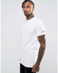 ASOS White Longline Muscle T-shirt With Text Sleeve Print for men