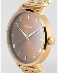 Nixon - Metallic Manuka Arrow Bracelet Watch In Gold for Men - Lyst