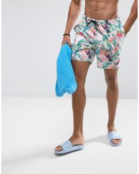Men's Swim Shorts In Pink Tropical Floral Print With Triangle Logo In Mid  Length