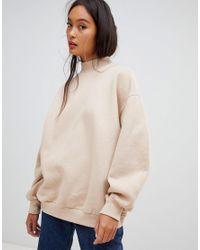 Bershka Natural High Neck Oversized Sweater In Camel