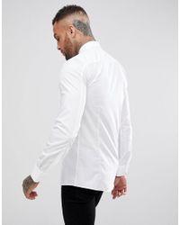 Camisa bsica de corte muy slim de popelina Elisha de HUGO de hombre de color White