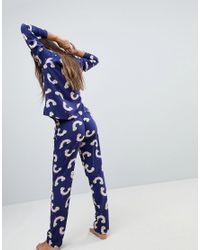 ASOS Blue Rainbow Pot Of Gold Long Leg Pyjama Set In 100% Modal