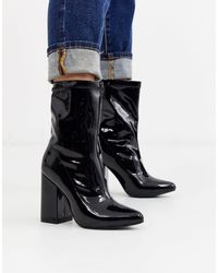 Glamorous Black Heeled Ankle Boots