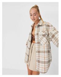 Veste chemise en polyester recyclé à carreaux Stradivarius en coloris Brown