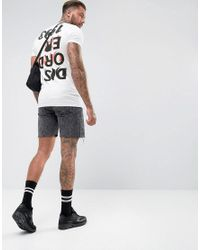ASOS White Longline Muscle T-shirt With Disorder Back And Chest Print for men