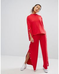 Daisy Street Red Wide Leg Joggers With Popper Sides Co-ord