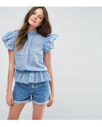 ASOS - Green Casual Short Sleeve Victoriana Blouse - Lyst