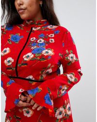 Rage Red Velvet Piped Trim Floral Dress