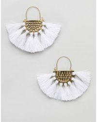 ASOS Metallic Hammered Tassel Fan Earrings