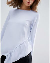 ASOS Purple Long Sleeve Top With Asymmetric Ruffle Hem