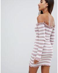AX Paris - Pink Bardot Striped Jersey Dress - Lyst