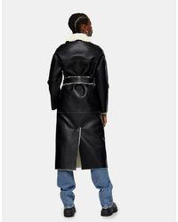 Черное Двустороннее Пальто Из Искусственной Кожи -черный Цвет TOPSHOP, цвет: Black