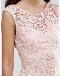 Zibi London - Natural Crochet Lace Pencil Dress - Lyst