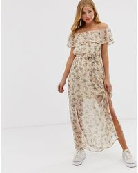 Glamorous Multicolor Off Shoulder Floral Maxi Dress