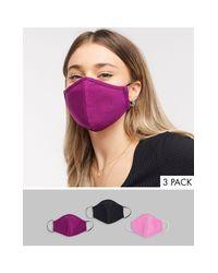 Confezione da 3 mascherine di ASOS in Purple