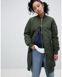93d95834155e adidas Originals Long Bomber Jacket in Green - Lyst