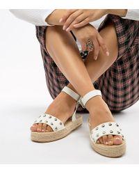 ASOS White Design Jake Wide Fit Studded Espadrille Sandals