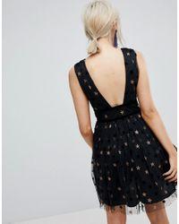 New Look Black Star Mesh Skater Dress