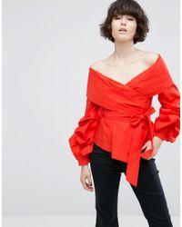 ASOS Red Off Shoulder Wrap Shirt