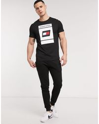 Sport - T-shirt con stampa di Tommy Hilfiger in Black da Uomo