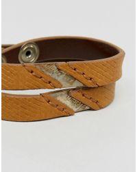 DIESEL   Alucy Wrap Leather Bracelet In Green for Men   Lyst
