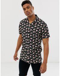 Originals - Camicia nera con stampa e colletto a rever di Jack & Jones in Black da Uomo