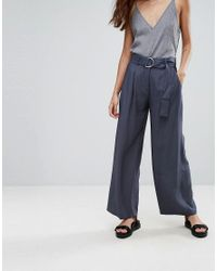 SELECTED - Blue Junee Belted Wide Leg Pants - Lyst