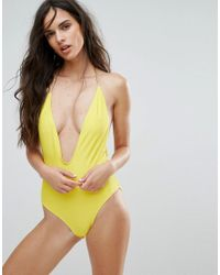 Missguided Yellow Plunge Plait Back Swimsuit