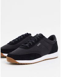 BOSS by Hugo Boss Black Sonic Runn Colourblock Sneakers With Nylon Panels for men