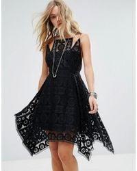 Free People | Black Just Like Honey Lace Drape Hem Dress | Lyst