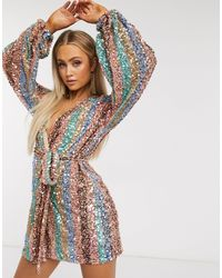 Club L London Multicolor Contrast Stripe Sequin Wrap Long Sleeve Belted Mini Dress