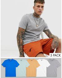 Confezione da 5 T-shirt girocollo - Risparmia di ASOS in Gray da Uomo
